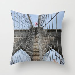 Brooklyn Bridge Cables Throw Pillow