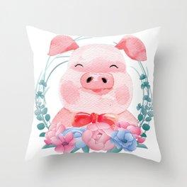 Cute Pig Throw Pillow