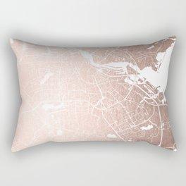 Amsterdam Rosegold on White Street Map Rectangular Pillow