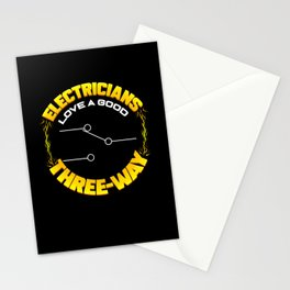 Electrician Electrical Electricity Three Way Stationery Cards