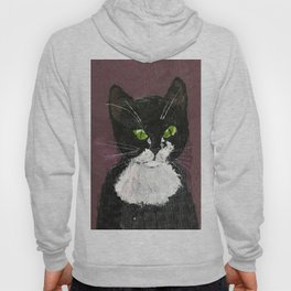 Cat drawing, Cute Black and White cat with green eyes Hoody