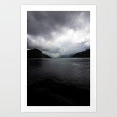 Clouded Fjord Art Print