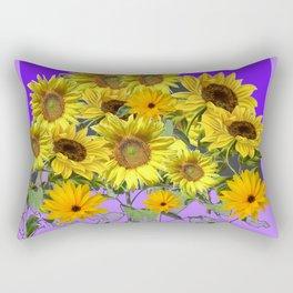 YELLOW SUNFLOWERS BOUQUET PANTENE PURPLE DECORATIVE ART Rectangular Pillow
