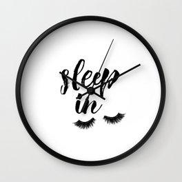 Sleep In Print, Sleep In Sign, Sleep Art, Eyelash Wall Art, Bedroom Wall Art Wall Clock