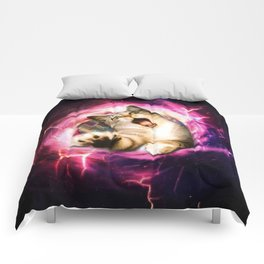 Galaxy Cat Hole Comforters