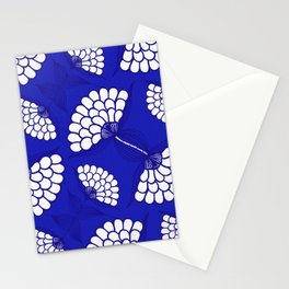 African Floral Motif on Royal Blue Stationery Cards