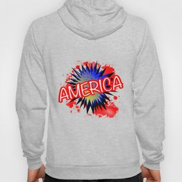 America Red White And Blue Cartoon Exclamation Hoody