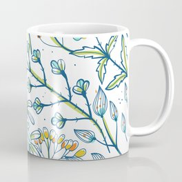 Light Blue and Bright White Ditsy Flower Spring Bloom Coffee Mug