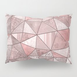 Soft Pink Coral Glamour Gemstone Triangles Pillow Sham