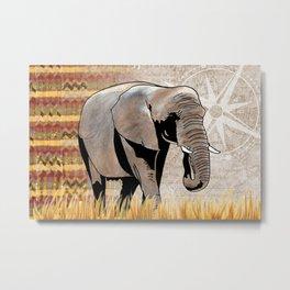 Elephant Safari Metal Print