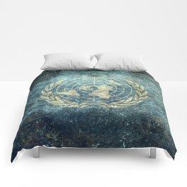 The United Nations Flag - Vintage version Comforters