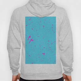 Neon Pink Spray Splatters on Turquoise Surface Hoody