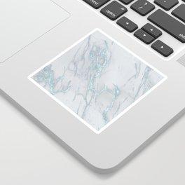 Marble Love Sea Blue Metallic Sticker