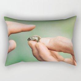 Meeting Tiny Frog Rectangular Pillow