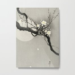 Blossoming Tree and Full Moon - Vintage Japanese Woodblock Print Metal Print