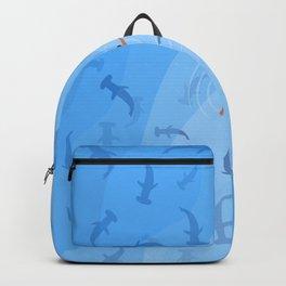 Shark Beach Swimmer | Aerial Illustration Backpack