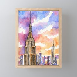 Empire State Building ink & watercolor illustration Framed Mini Art Print