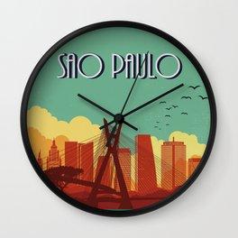 Sao Paulo vintage poster travel Wall Clock