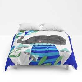 elephant with raindrops in blue watercolor illustration Comforters