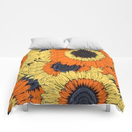 Abstracted Orange Yellow Deco Sunflowers Comforters