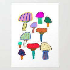 Mushrooms, mushroom print, mushroom art, illustration, design, pattern, Art Print