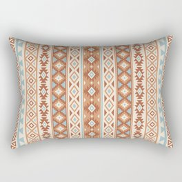 Aztec Stylized Pattern Blue Cream Terracottas Rectangular Pillow