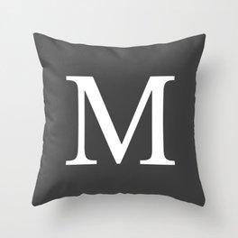 Very Dark Gray Basic Monogram M Throw Pillow
