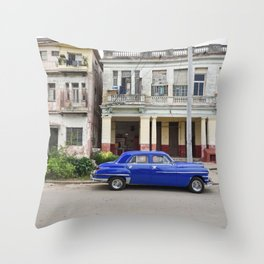 Havana Cuba Cuban Vintage Car Architecture Vedado Urban Street Photography Throw Pillow