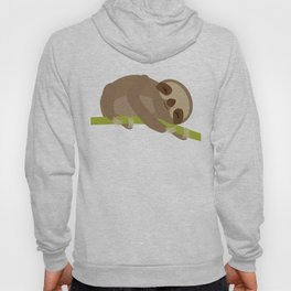 funny and cute Three-toed sloth on green branch Hoody