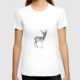 Snowing Reindeer On White T-shirt