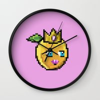 princess peach Wall Clocks featuring Princess Peach by Sam Pea