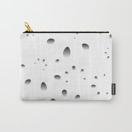 Gray drops and petals on a black background in nacre. Carry-All Pouch