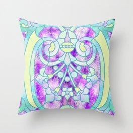 Art Nouveau Aqua and Purple Batik Design Throw Pillow