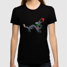 Chinese Dragon - Flag of Qing Dynasty Black LARGE Womens Fitted Tee