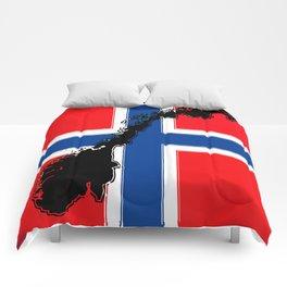 Norwegian Flag with Map of Norway Comforters
