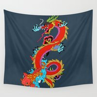 dragon Wall Tapestries featuring dragon  by mark ashkenazi