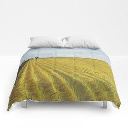 Alone, Farm, Acrylic on Canvas Comforters