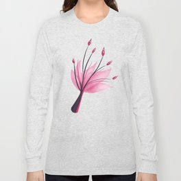 Pink Abstract Water Lily Flower Long Sleeve T-shirt