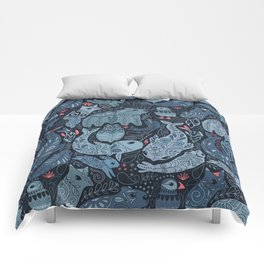 Arctic animals. Polar bear, narwhal, seal, fox, puffin, whale Comforters