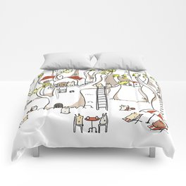 Forest animals waiting for the holidays Comforters