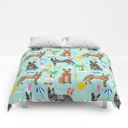 Australian Cattle Dog beach tropical pet friendly dog breed dog pattern art Comforters