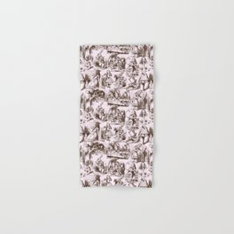 Alice in Wonderland | Toile de Jouy | Brown and Pink Hand & Bath Towel