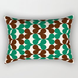 Retro heart pattern green & brown. Rectangular Pillow