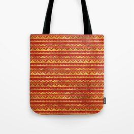 Geometric Lines Tribal  gold on red leather Tote Bag