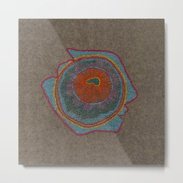 Growing - Thuja - embroidery based on plant cell under the microscope Metal Print