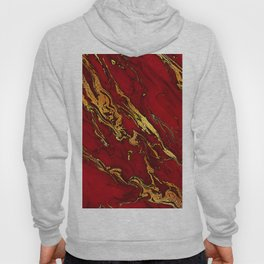 Chic Elegant Fire Red Ombre Glitter Marble Hoody
