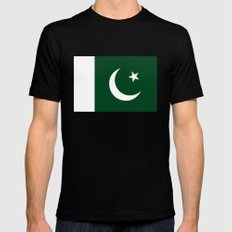 The National Flag of Pakistan - Authentic Version Black MEDIUM Mens Fitted Tee