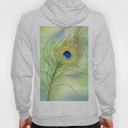 Abstract Peacock Feather Watercolor Hoody
