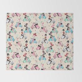 Scooter Girls Pattern Throw Blanket