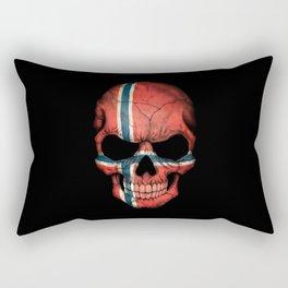 Dark Skull with Flag of Norway Rectangular Pillow